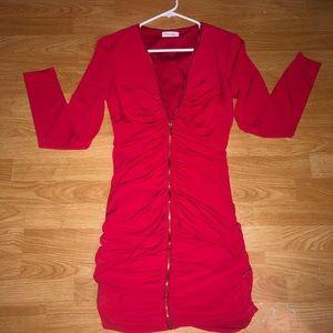Calvin Klein red stretchy dress